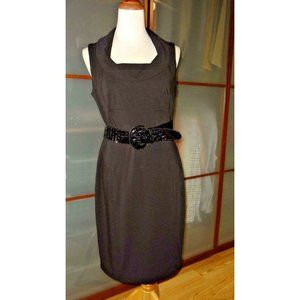 Donna Ricco Cowl Neck Sleeveless Belted Dress NEW